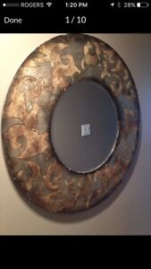 Antique wooden mirror bronze