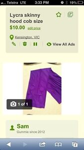 Lycra skinny hood. Cob size. Kensington Melbourne City Preview