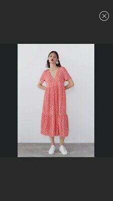 NWT Red Floral Tiered Flowing Maxi Dress Size Small
