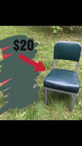 Vintage industrial green vinyl office chair