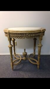 Hand Carved Marble Top Console Table
