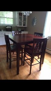 Dining table and 4 chairs , pub style