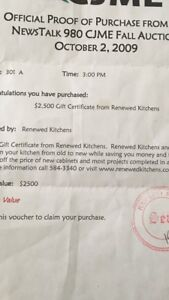 2500 gift certificate to Renewed kitchens