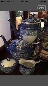 Bombay Porcelain Blue White Silver Trim Coffee Pot & Tea Pot
