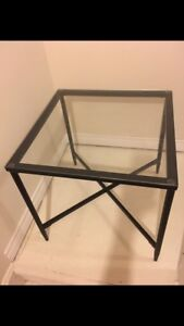 2 brand new glass top tables