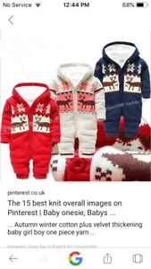LF: a boys or unisex knitted fall/winter onesie, snowsuit