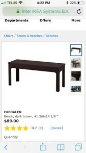 Two dark brown ikea dining benches for sale!