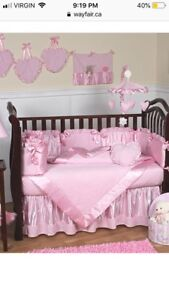 Pink chenille crib set from way fair