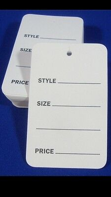 1000 Lot Large White Unstrung Garment Merchandise Price Tags 1-34 X 2-78