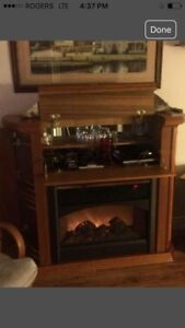 Beautiful Solid Oak Fireplace/Bar. In Mint Condition.