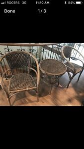 Brand new rattan chair and table set
