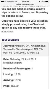 Mega bus from Kingston to Toronto airport ticket