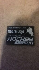 I interrupt this marriage to bring hockey season wooden picture