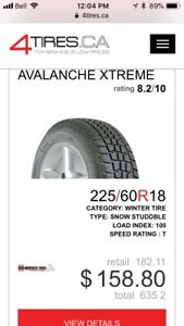 4 x Hercules Avalanche Xtreme 225/60 R18, $400 for all 4