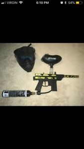 Paintball gun, Co2 canister, and mask