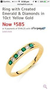 10ct Gold Diamonds and Created Emeralds Ring Canning Vale Canning Area Preview