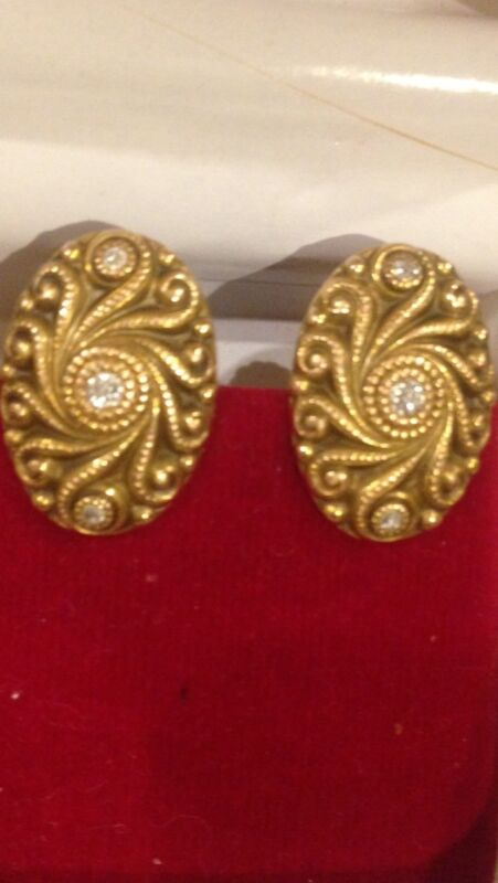 Antique Victorian 14k Gold & Diamond Earrings