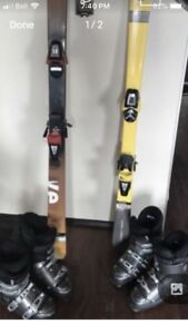 Men and women ski and boot set