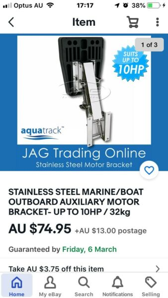STAINLESS STEEL MARINE//BOAT OUTBOARD AUXILIARY MOTOR BRACKET UP TO 10HP 32kg