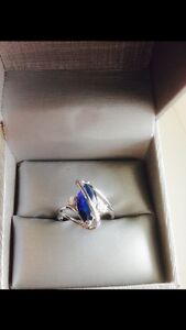 BEAUTIFUL*•*Blue Sapphire 10kt White Gold Filled Ring!