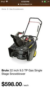 Brute 22 inch 9.5 TP Gas Single Stage Snowblower