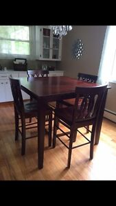Bar style dining table and 4 chairs