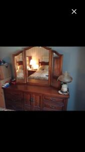 Wooden  dresser with framed mirror & Queen Bed, Headboard 3 pc