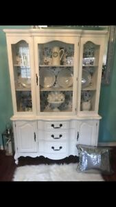 Stunning Antique French Provincial Shabby Chic China Cabinet