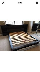 Queen size solid oak dark timber bed Tempe Marrickville Area Preview