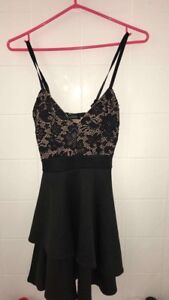 Black and beige dress with lace