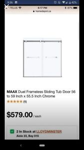New out of box bath tub sliding door