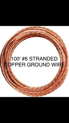 Cut Wire 100 6 Awg Bare Stranded Copper Ground Bonding Pool Amp 100 Feet Ft