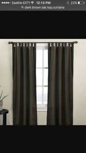 Chocolate brown tab top curtains - 4 panels