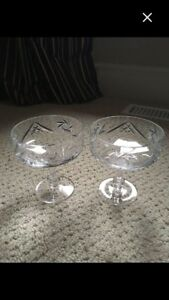 Set of 6 Crystal Champagne Glasses