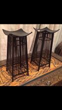 Black wrought iron and cane oriental candle holders x2 new Horsley Wollongong Area Preview