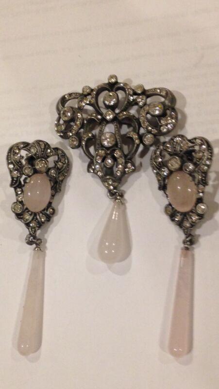 vintage Brooch Earring Set With Jade