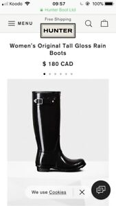 Tall Black Glossy Hunter Boots