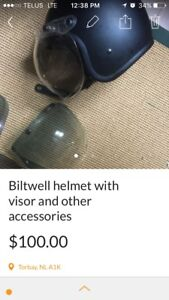 Biltwell motorcycle helmet and other accessories