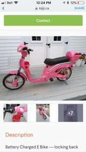 Pink Electric Bike Scooter (No Licence Required)