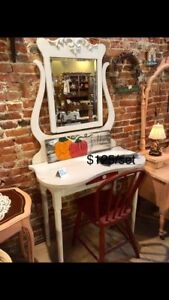 Pretty vanity with mirror and chair
