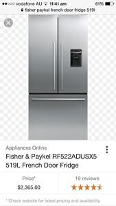 Fisher & Paykel French Door Fridge AS NEW! Ascot Vale Moonee Valley Preview