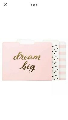 (New Dream Big Decorative File Folders, 12ct, Pink/Gold Letter Size)