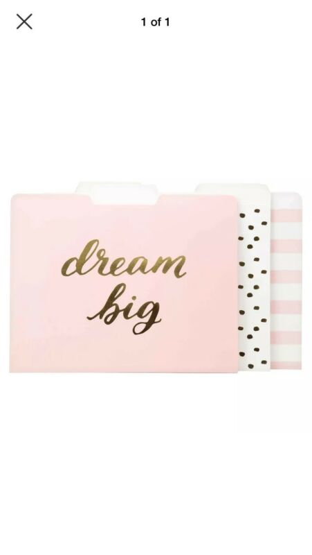 New Dream Big Decorative File Folders, 12ct, Pink/Gold Letter Size Media