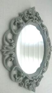 Grey Baroque Rococo Ornate Vintage Antique Style Oval Wall Mirror Next Day Desp