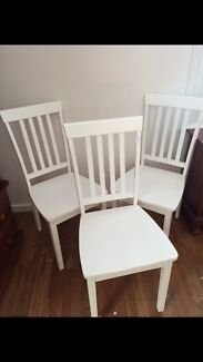 3 white wooden chairs Sandy Bay Hobart City Preview