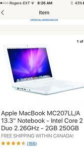 "Apple MacBook 13.3"" Notebook - Intel Core 2 Duo  2GB 250GB Peterborough Peterborough Area image 1"