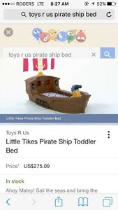 Toddler Pirate ship bed and accesories