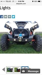 Push bumper for can am maverick , LED lights and 4500lbs winch