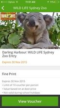 2 Adult Tickets wild life Zoo Darling Harbour Sydney City Inner Sydney Preview