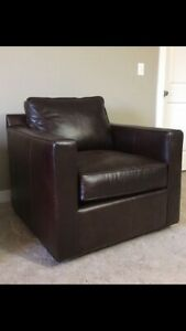 Crate and Barrel Barrett Leather Swivel Chair